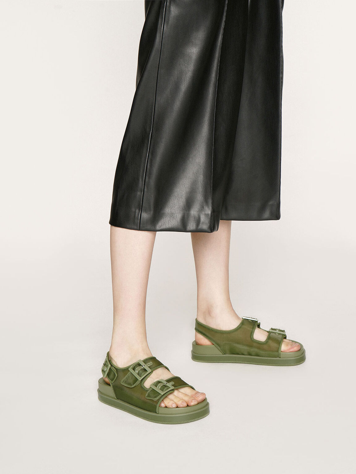 Mesh Flatform Sandals, Military Green, hi-res