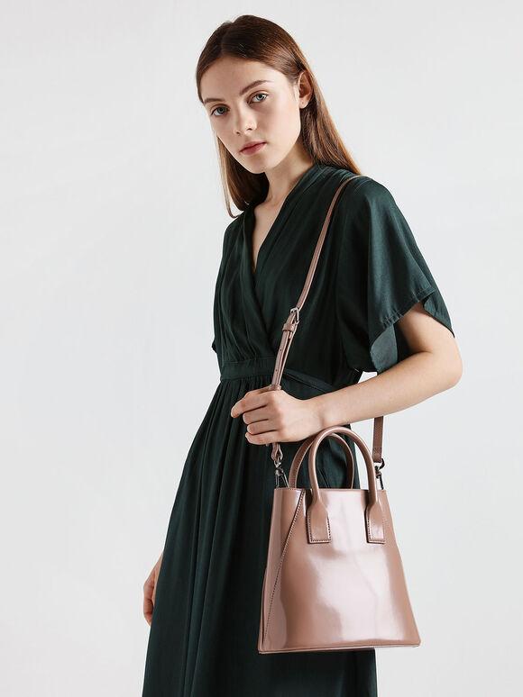 Leather Boxy Bucket Bag, Blush, hi-res