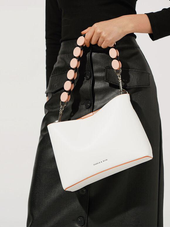 Acrylic Handle Bucket Bag, White, hi-res