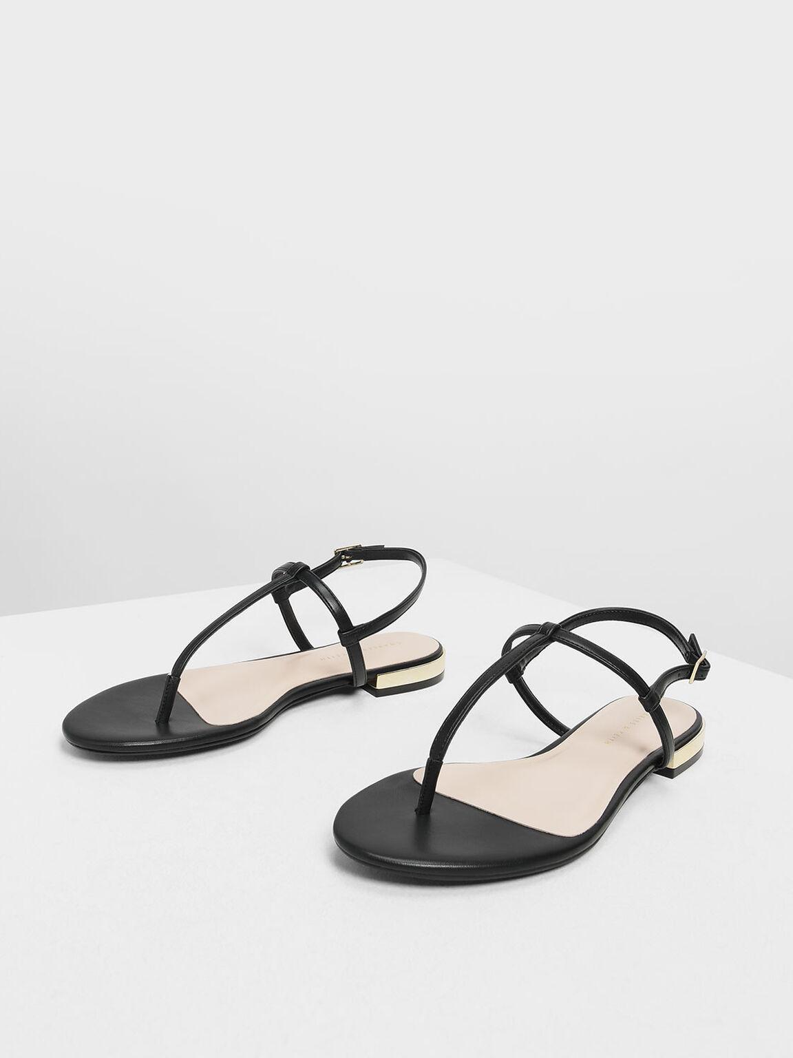 Gold Mini Heel T-bar Sandals, Black, hi-res