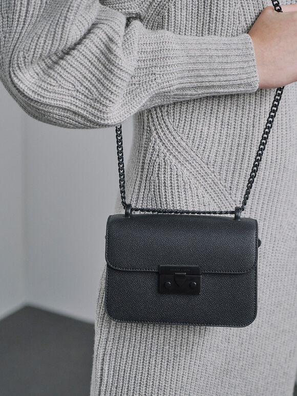 Classic Push-Lock Crossbody Bag, Ultra-Matte Black, hi-res
