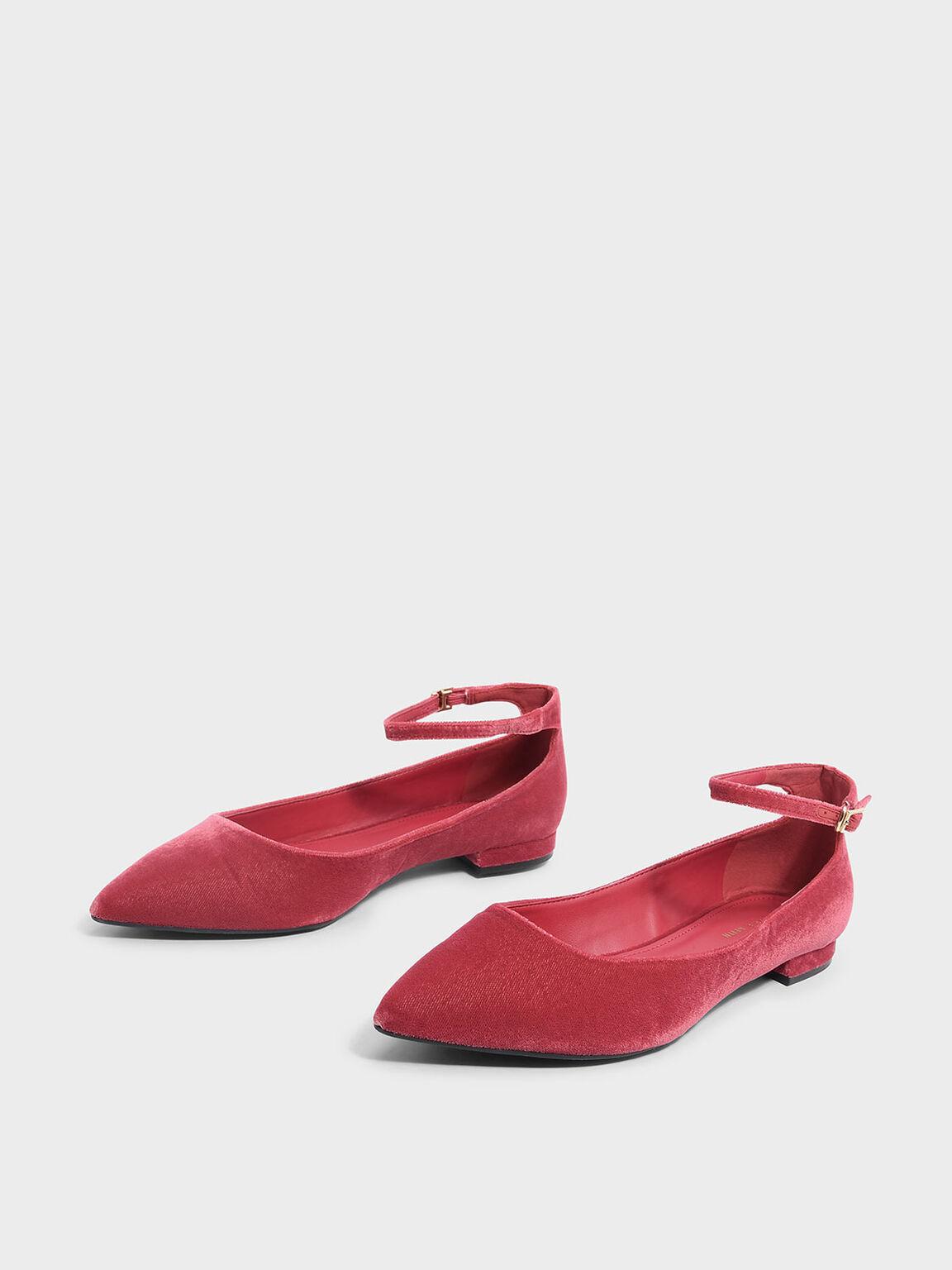 Ankle Strap Flats, Pink, hi-res
