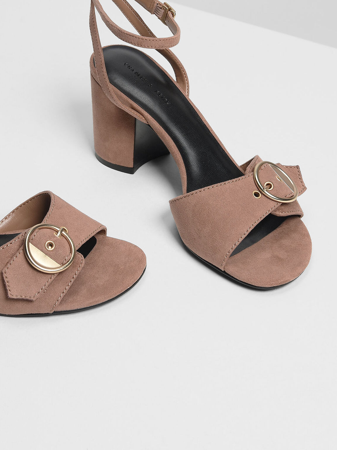 Gold Buckle Detail Heeled Sandals, Taupe, hi-res