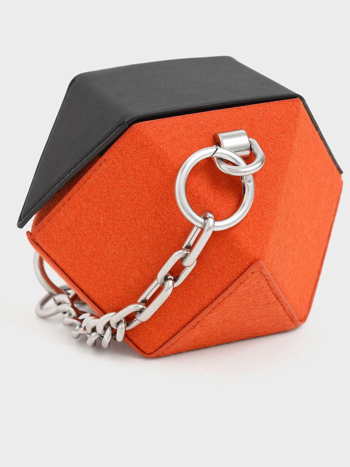 Two-Tone Chunky Chain Handle Hexagon Clutch, Orange, hi-res