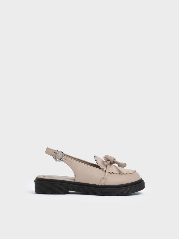 Girls' Scallop Detail Ribbon Tie Slingback Flats, Nude, hi-res
