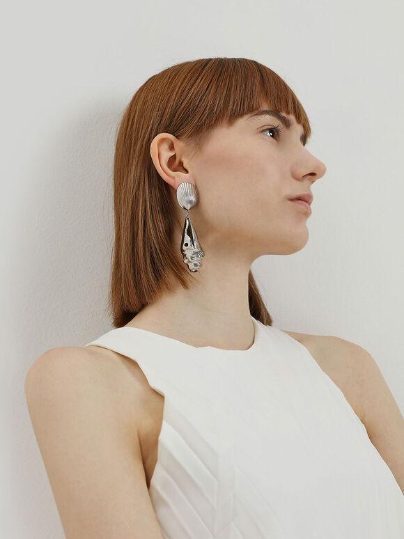 Seashell Drop Clip-On Earrings, Silver, hi-res