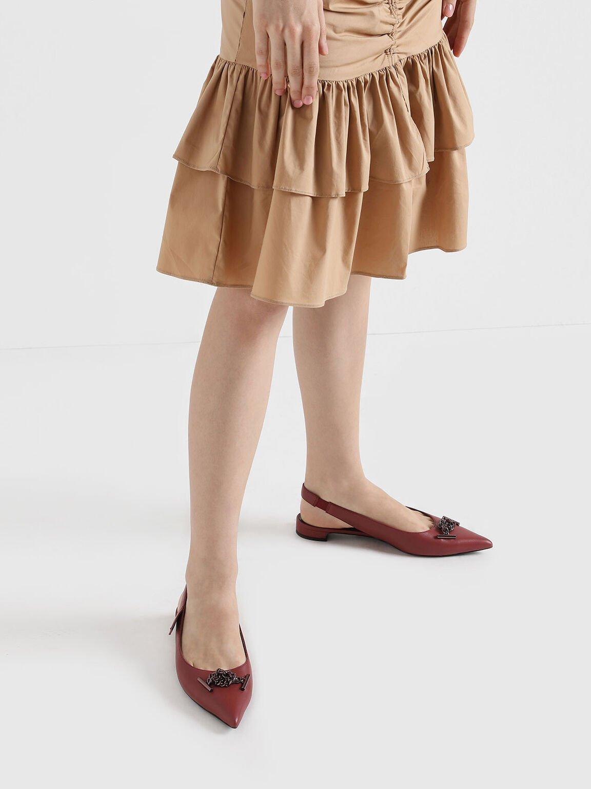 金屬鍊真皮平底鞋, 紅色, hi-res