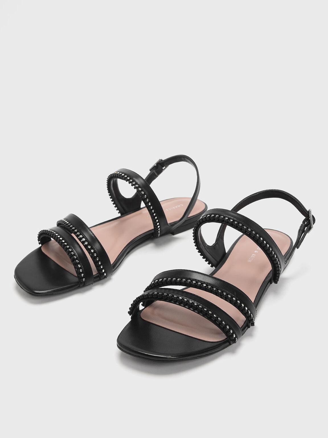 Gem Embellished Strappy Flats, Black, hi-res