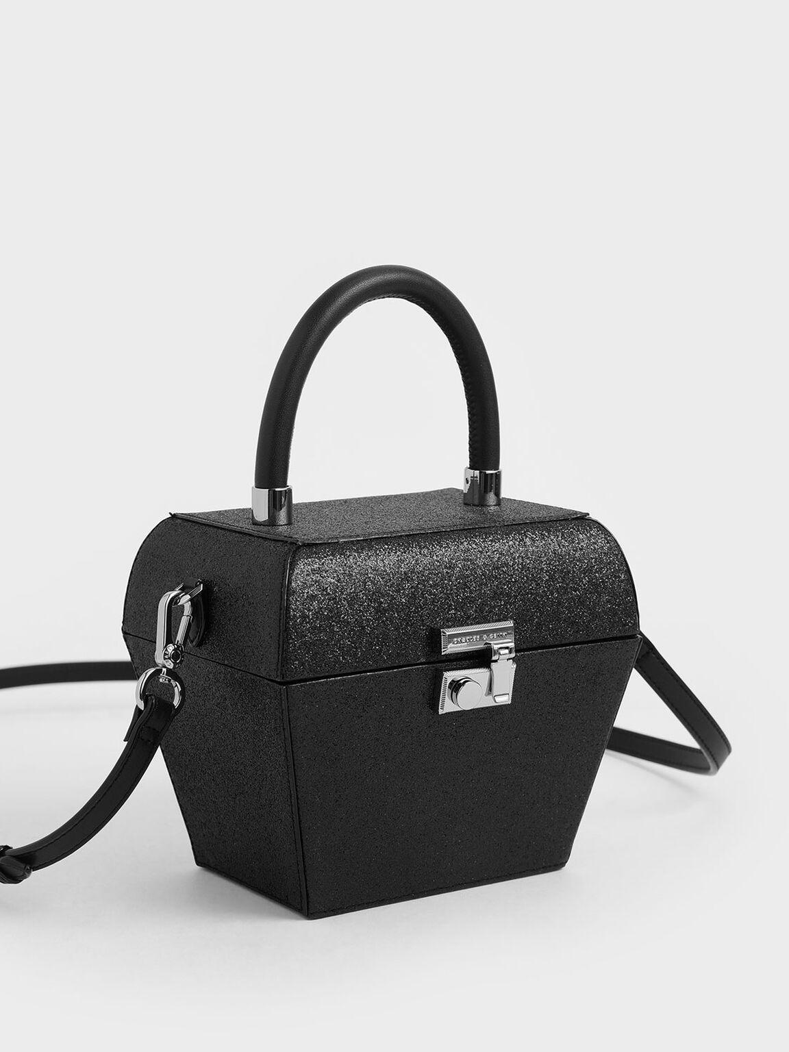 Glitter Sculptural Top Handle Bag, Black Textured, hi-res
