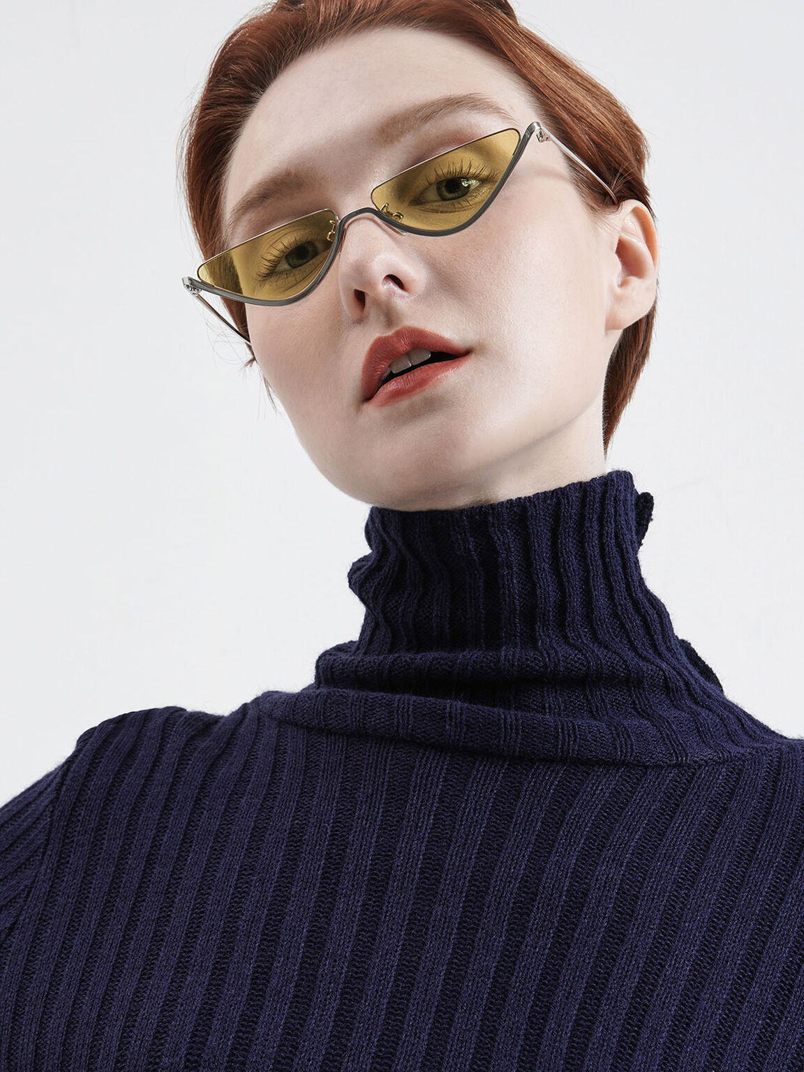 Thin Metal Frame Cat-Eye Sunglasses, Yellow, hi-res