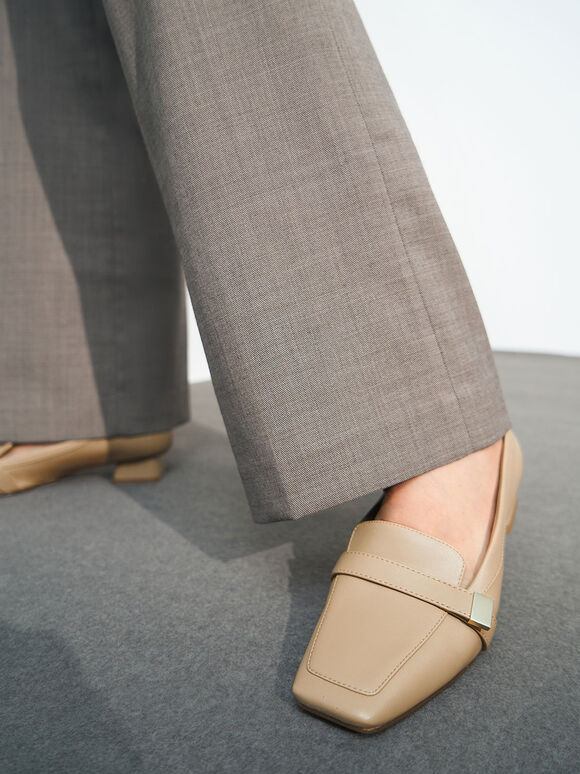 Square Toe Penny Loafers, Sand, hi-res