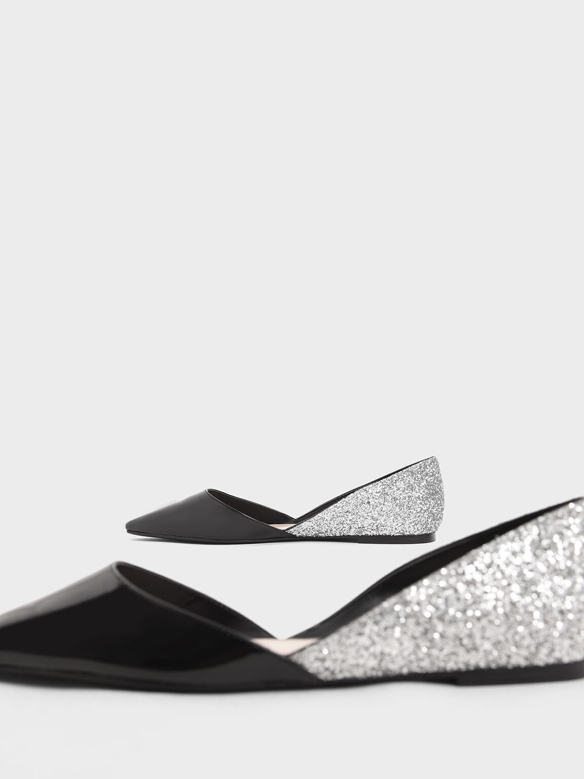 Two-Tone Patent Glitter D'Orsay Flats, Multi, hi-res