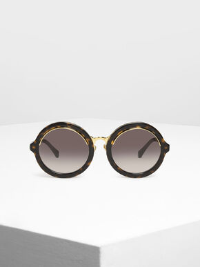 Thick Frame Round Sunglasses, T. Shell