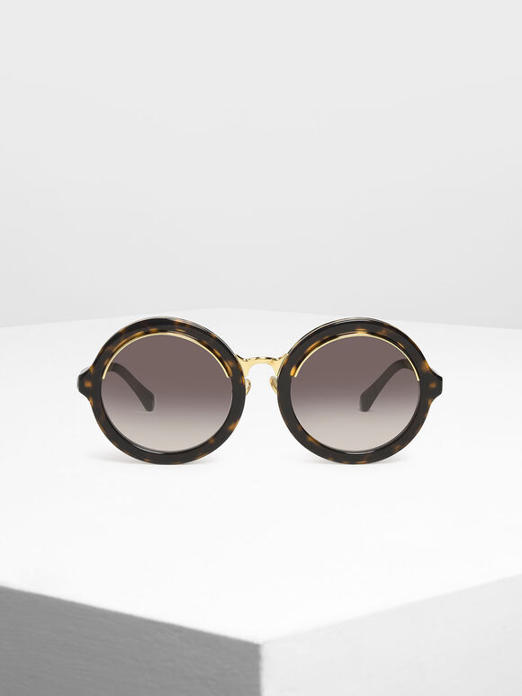 Thick Frame Round Sunglasses, T. Shell, hi-res