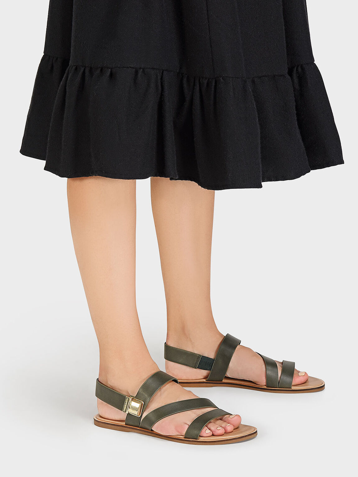 Strappy Open-Toe Sandals, Olive, hi-res