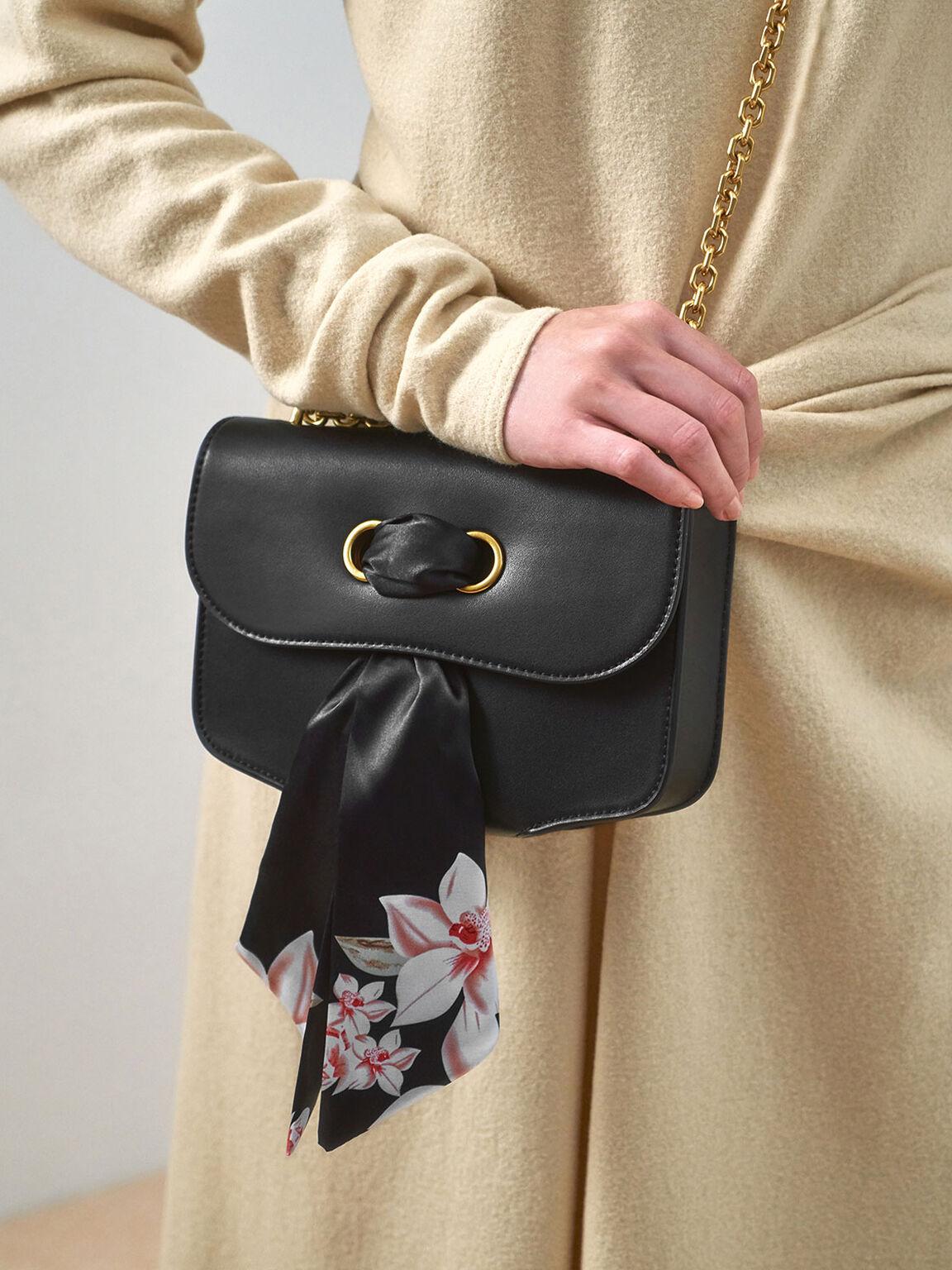 Chiffon Scarf Double Strap Shoulder Bag, Black, hi-res