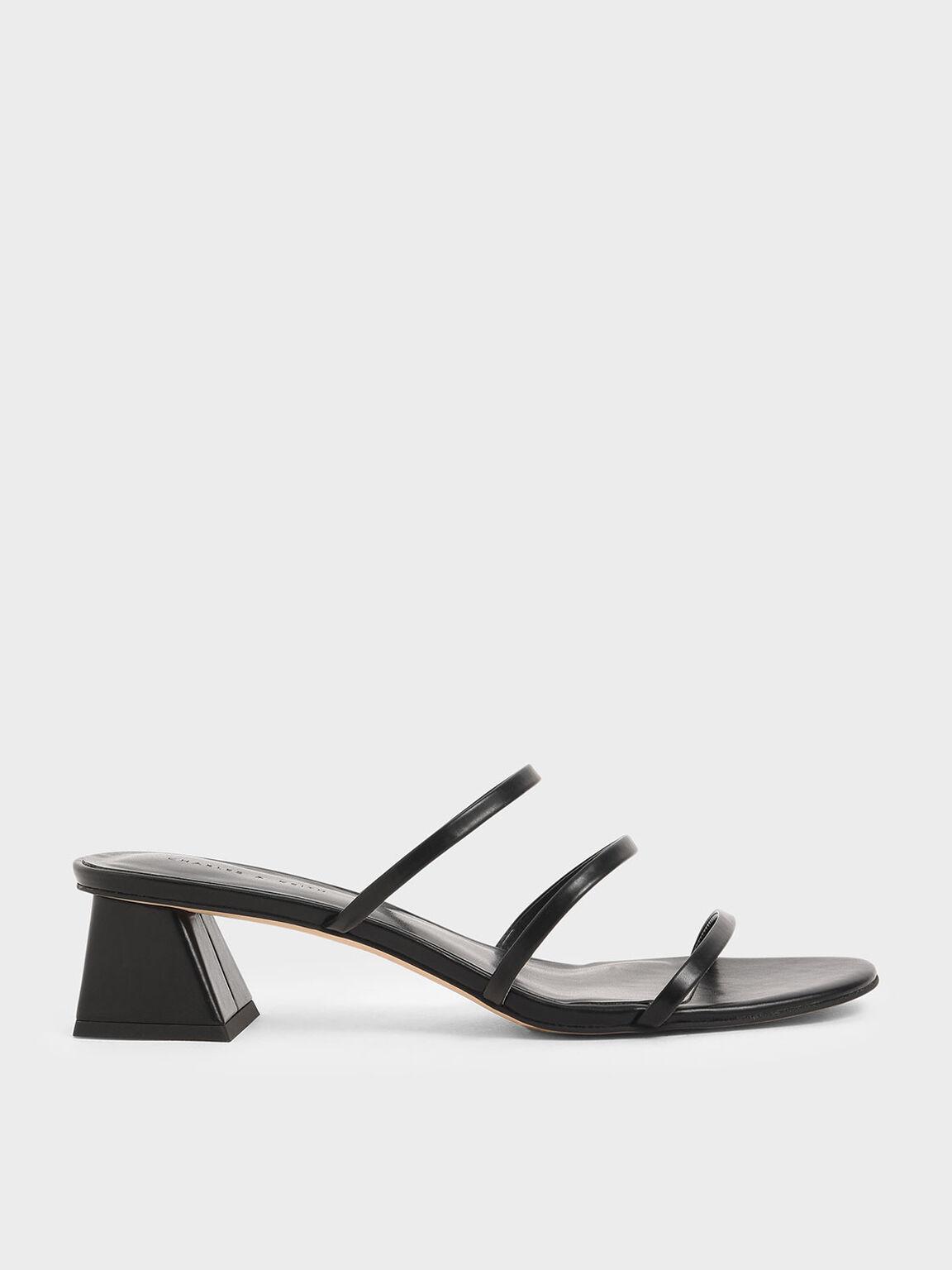Triple Strap Slide Sandals, Black, hi-res