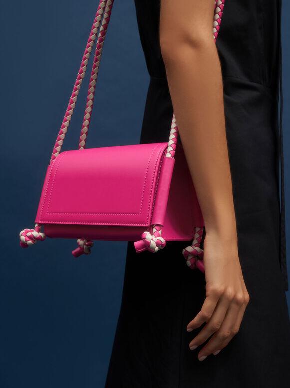 Embellished Strap Crossbody Bag, Fuchsia, hi-res