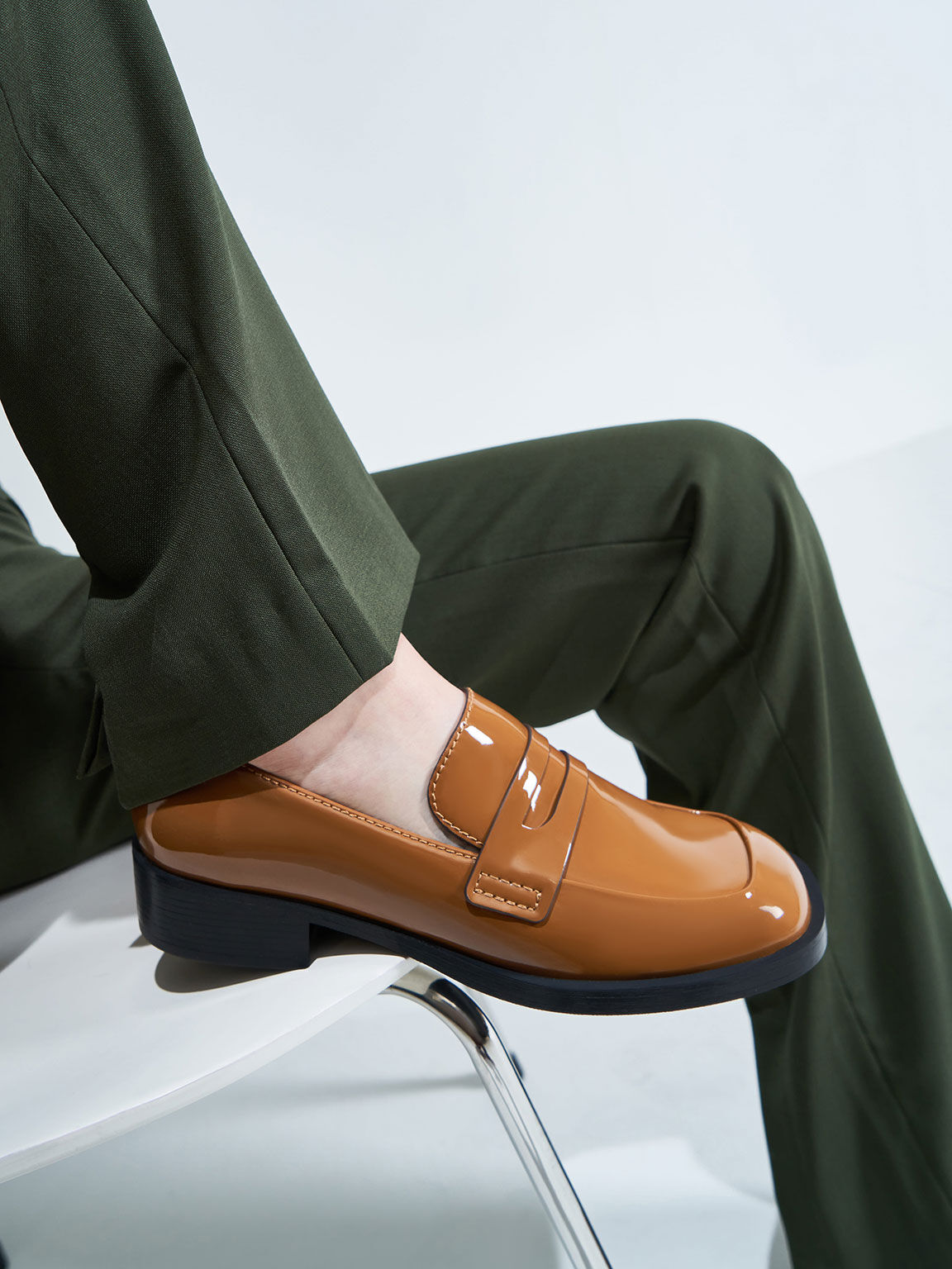 Patent Penny Loafers, Caramel, hi-res