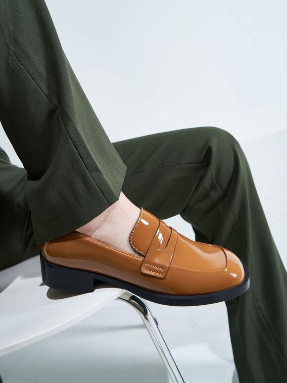 微正式粗跟樂福鞋, 焦糖色, hi-res
