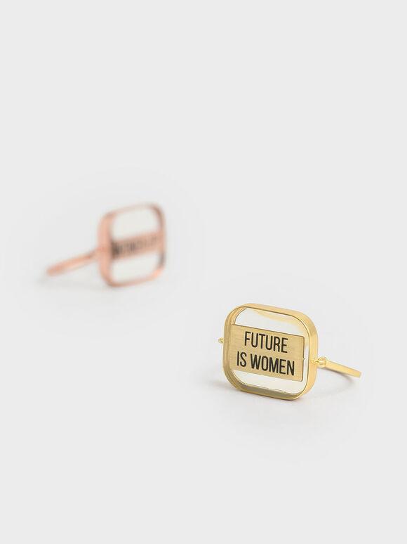 """FUTURE IS WOMEN"" Acrylic Ring, Bronze, hi-res"