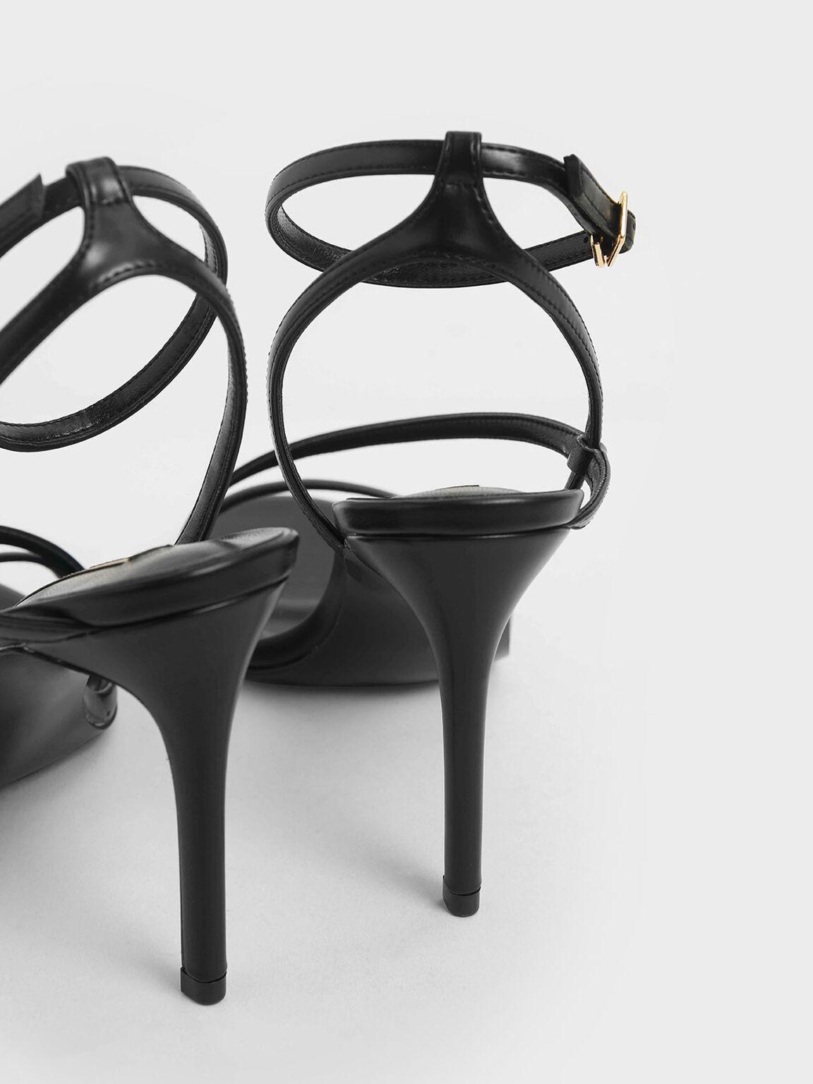 Strappy Stiletto Heel Sandals, Black, hi-res
