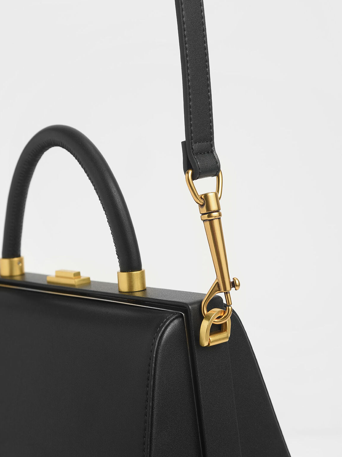 Large Accordion Top Handle Bag, Black Textured, hi-res