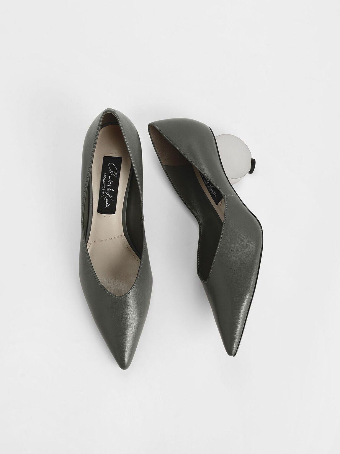 V-Cut Sculptural Heel Leather Pumps, Sage Green, hi-res