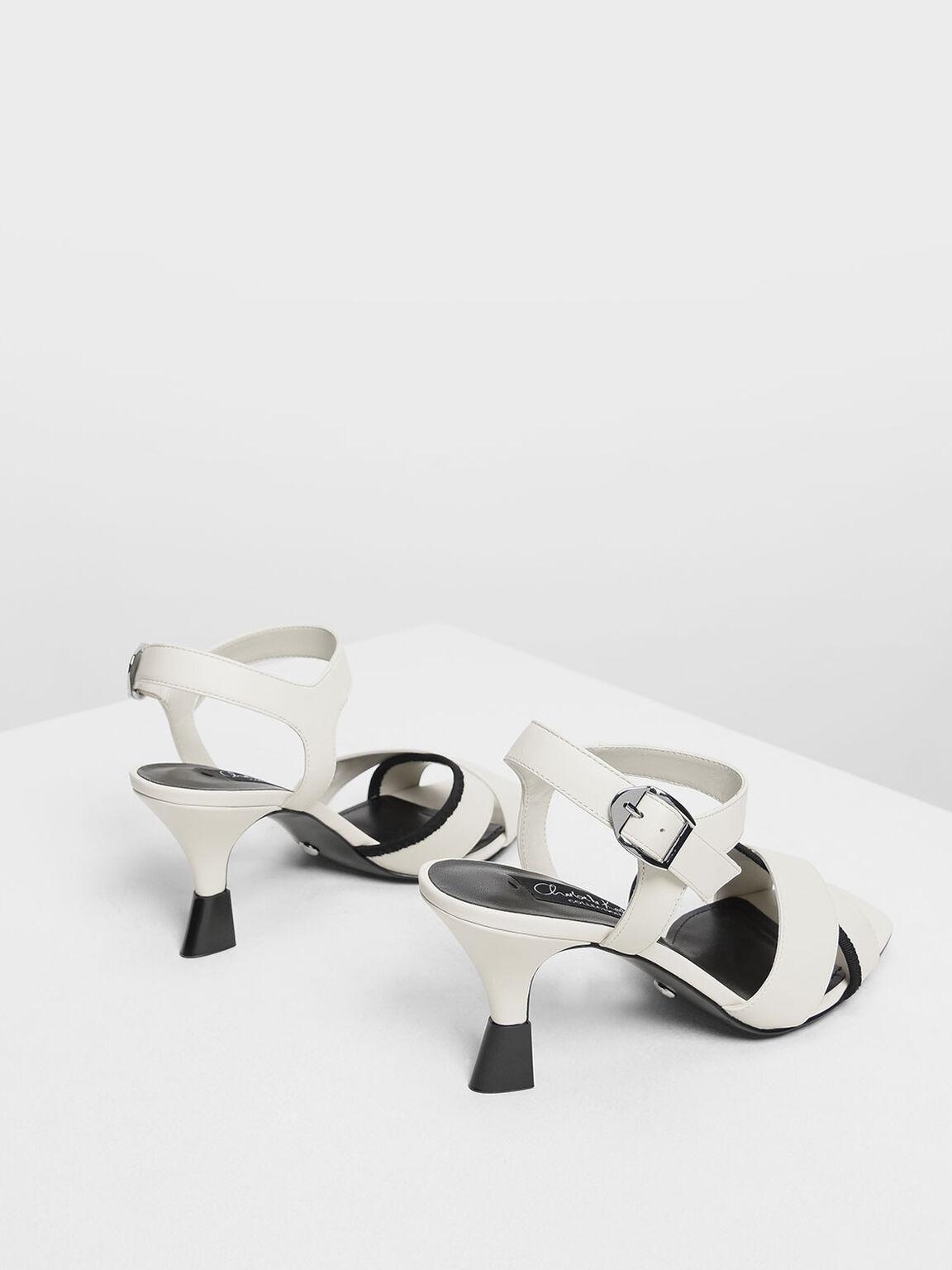 Leather Criss Cross Sculptural Heels, White, hi-res