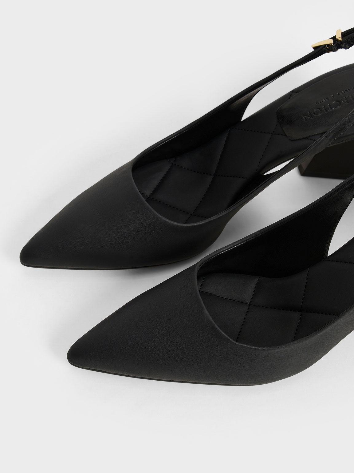 Leather Pointed Toe Slingback Pumps, Black, hi-res