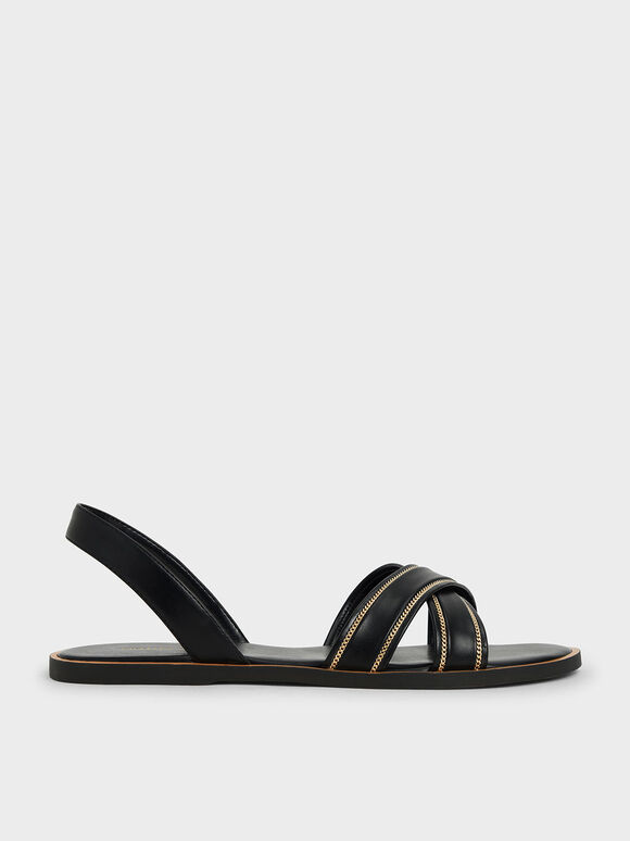 Embellished Slingback Sandals, Black, hi-res