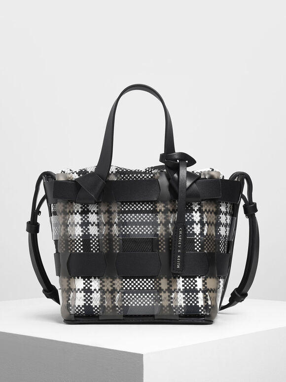 See-Through Woven Bucket Bag, Black, hi-res
