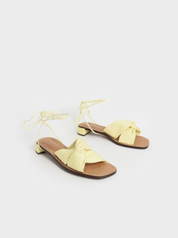 Knotted Tie-Around Sandals, Yellow, hi-res