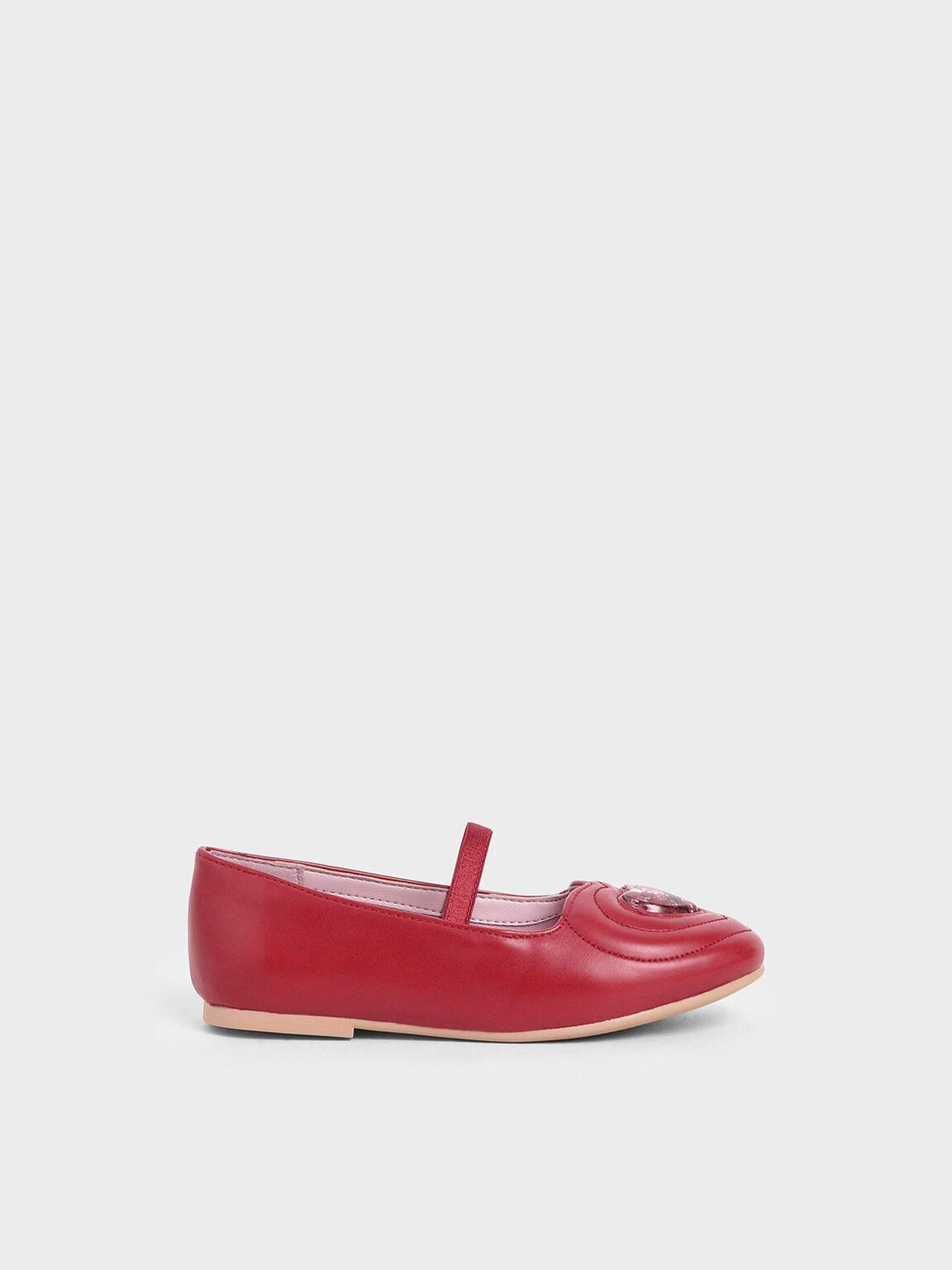 Girls' Sequin Heart Ballerina Flats, Red, hi-res