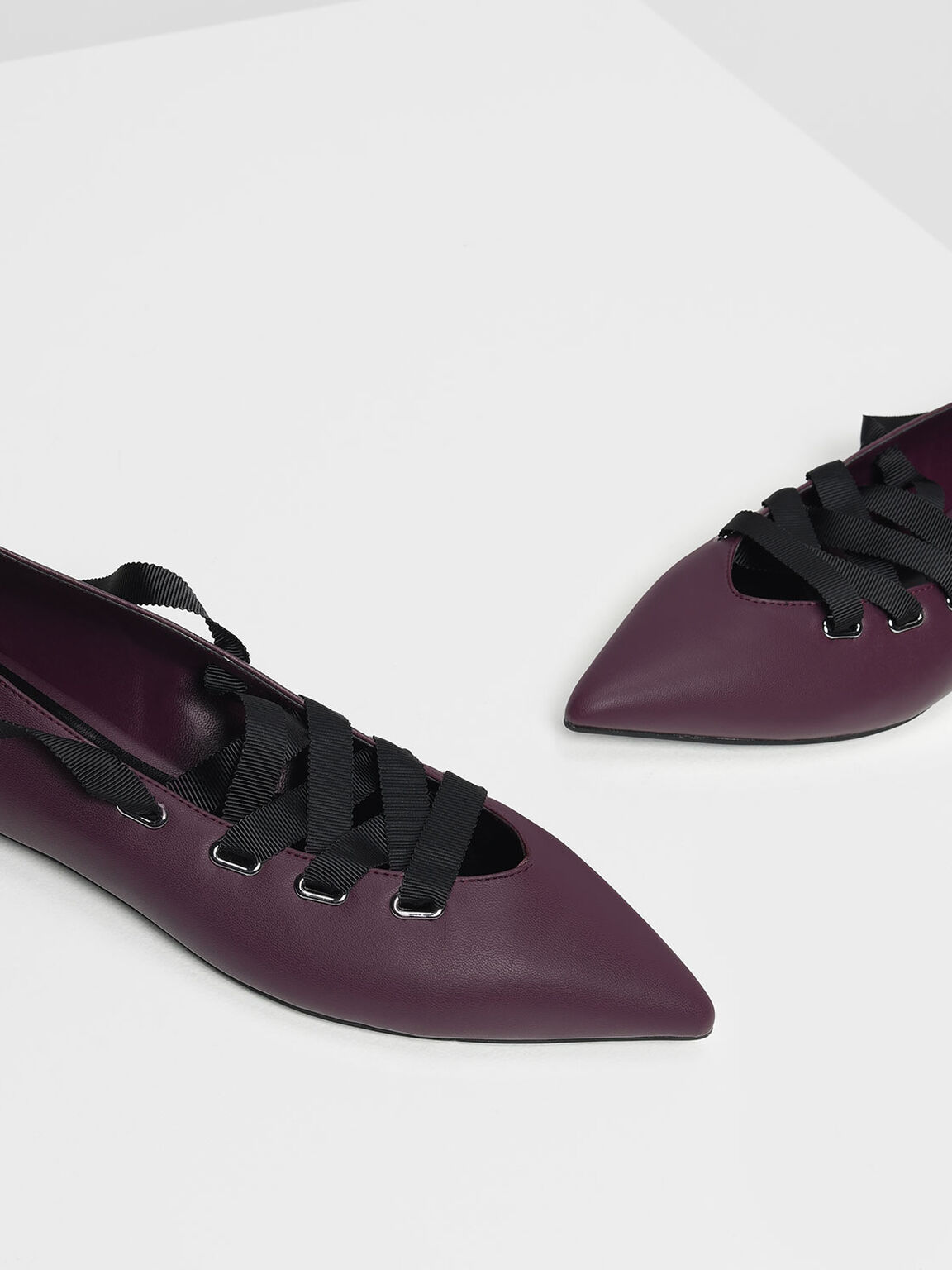 Laced Up Pointed Flats, Purple, hi-res