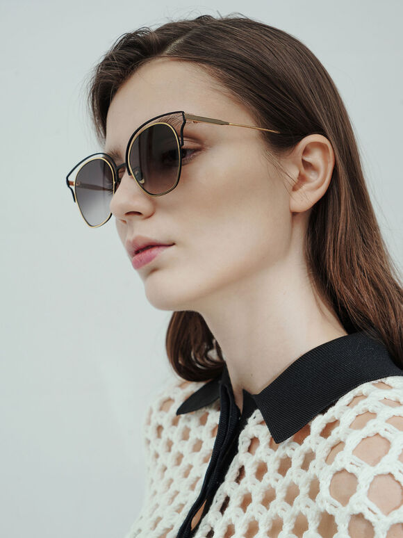 Cut-Out Tinted Sunglasses, Black, hi-res