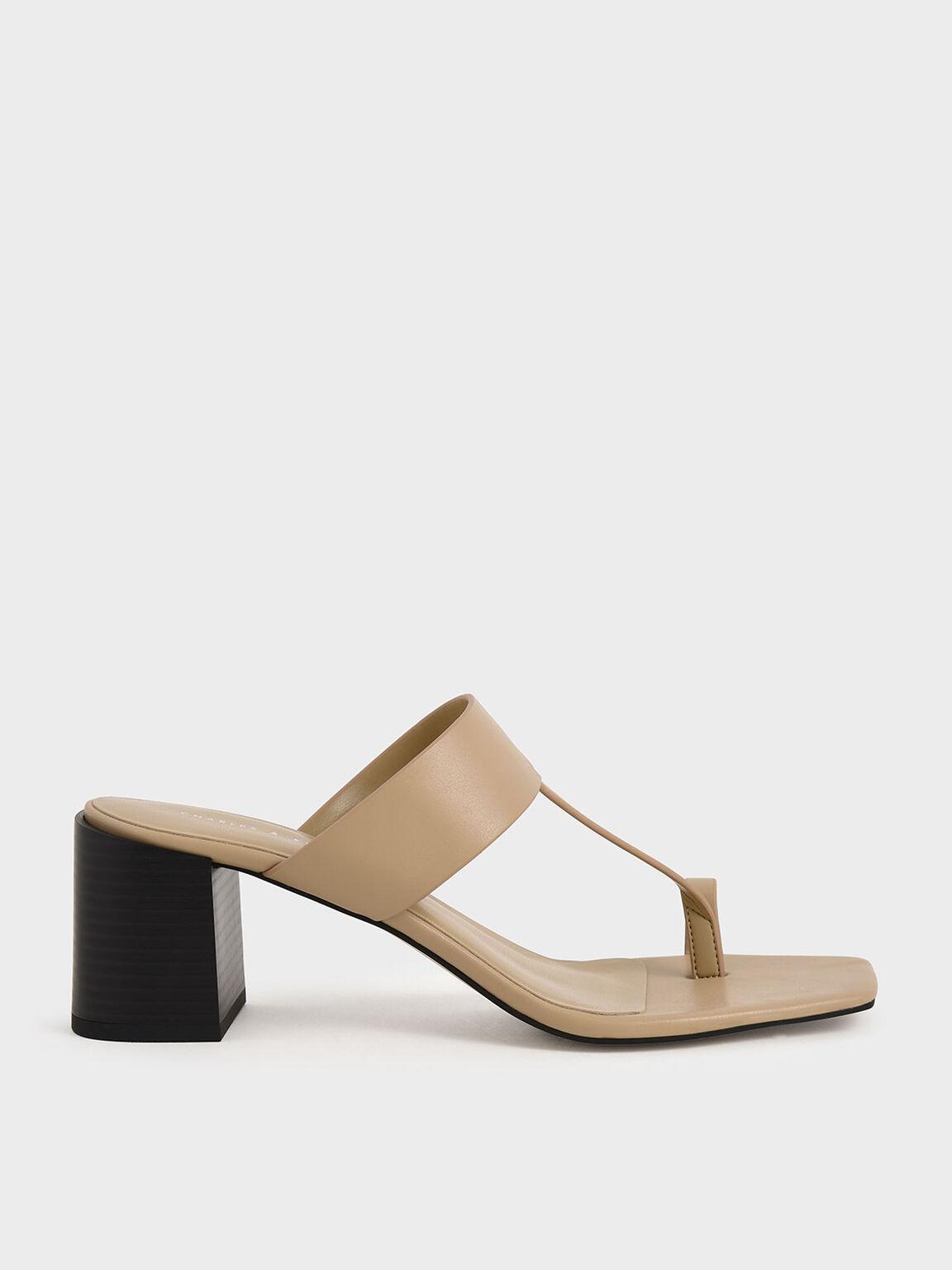 Toe Ring Block Heel Sandals, Beige, hi-res