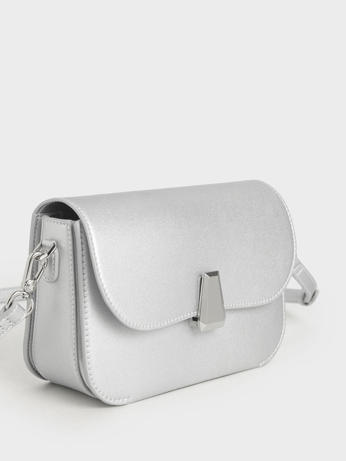 Geometric Accent Evening Bag, Silver, hi-res