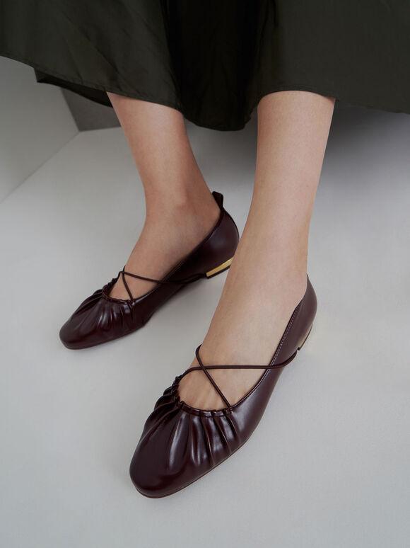交叉帶抓皺平底鞋, 栗子色, hi-res