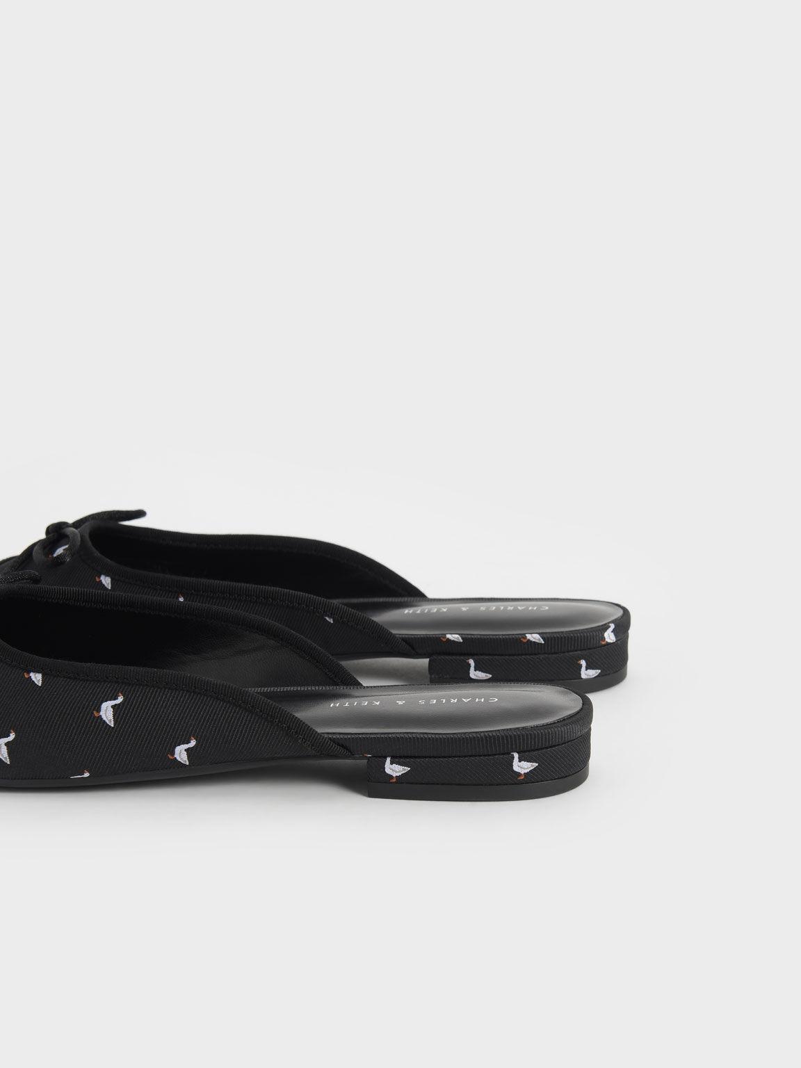 Printed Jacquard Bow-Tie Flat Mules, Black Textured, hi-res
