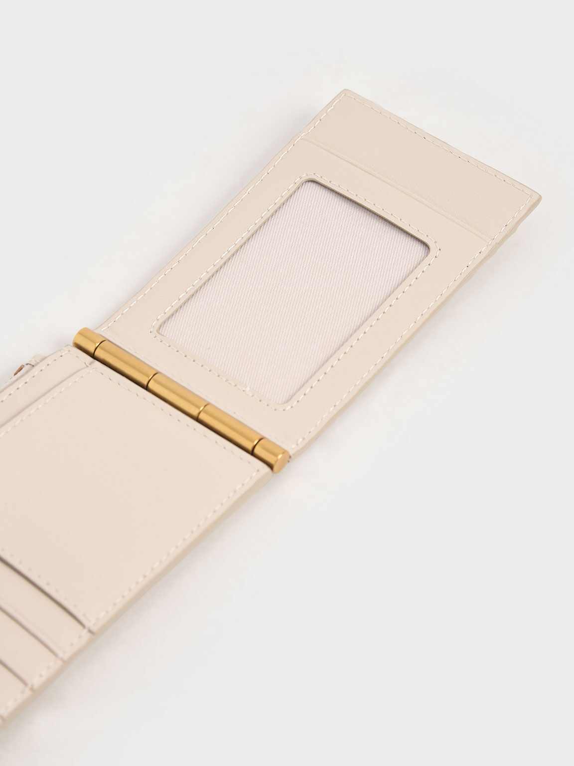 Zip & Snap Button Card Holder, Ivory, hi-res