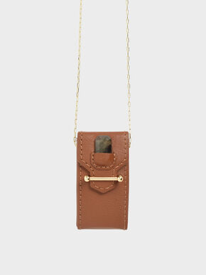 Labradorite Stone Opera Necklace Bag, Brown