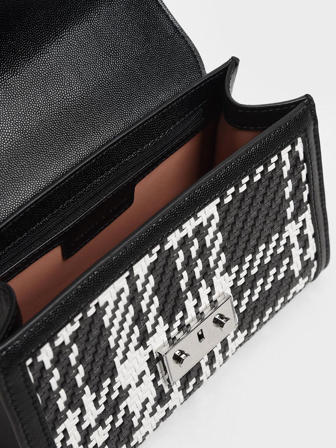 Woven Detail Clutch, Black, hi-res