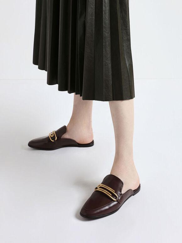 金屬圈穆勒拖鞋, 咖啡色, hi-res