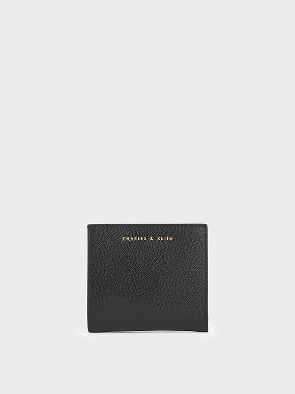 Square Small Wallet, Black, hi-res