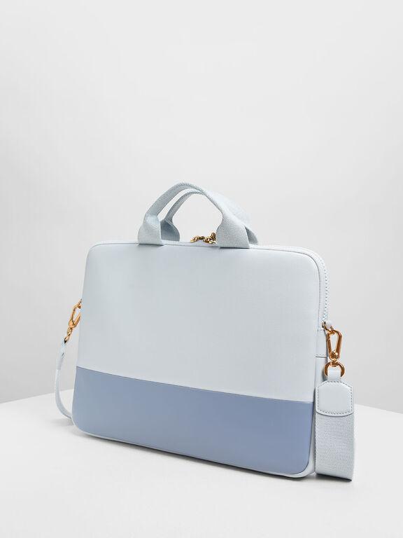 Two Tone Laptop Bag, Light Blue