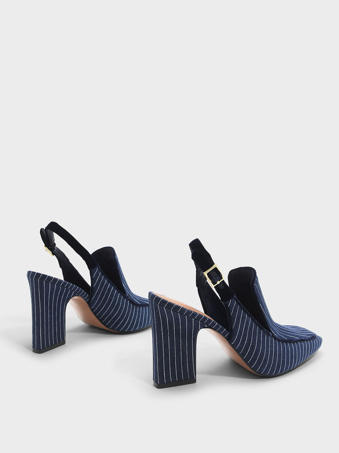 Striped Tapered Heel Slingback Heels, Blue, hi-res