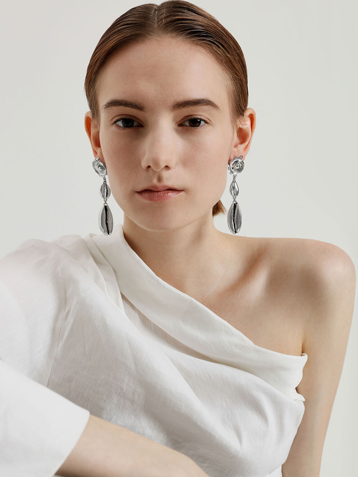Shell Drop Earrings, Silver, hi-res