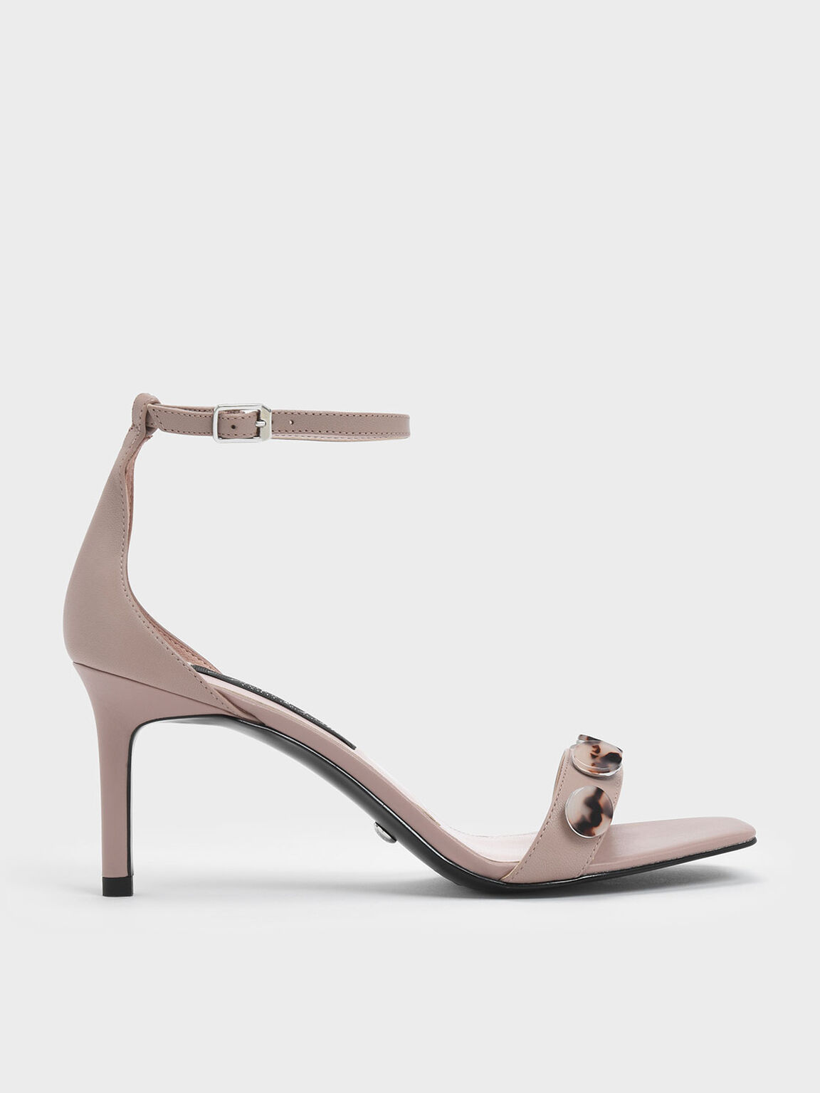 Tortoiseshell Button Detail Leather Stiletto Sandals, Mauve, hi-res