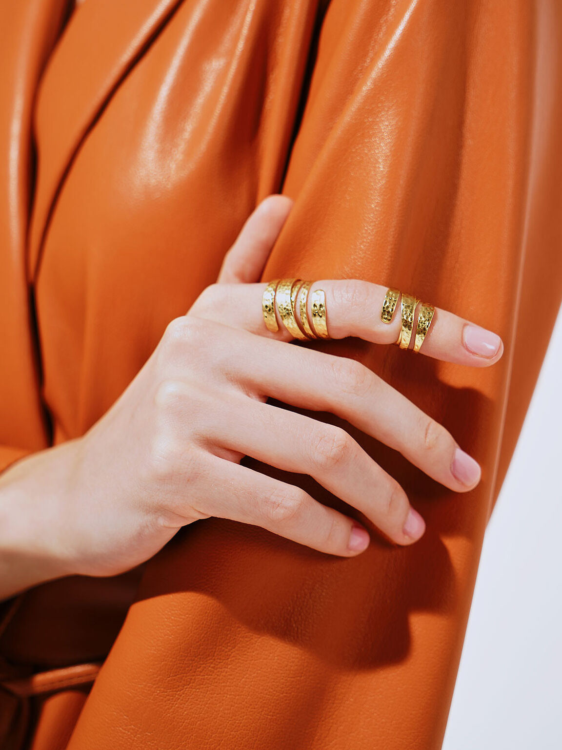 Hammered Double Ring, Brush Gold, hi-res